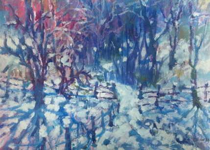 snow in oil pastels