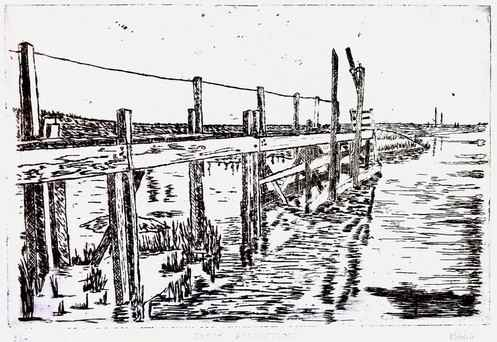 Jetty Reflections - Etching