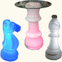 Illuminated Chess Pieces and Tables