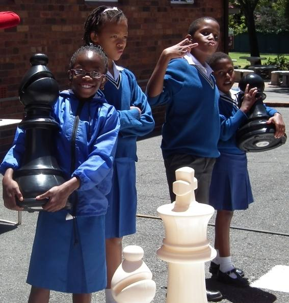 st vincents school for the deaf with their new bigchess set !