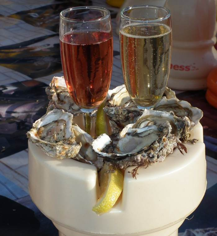 rook with oysters and champagne