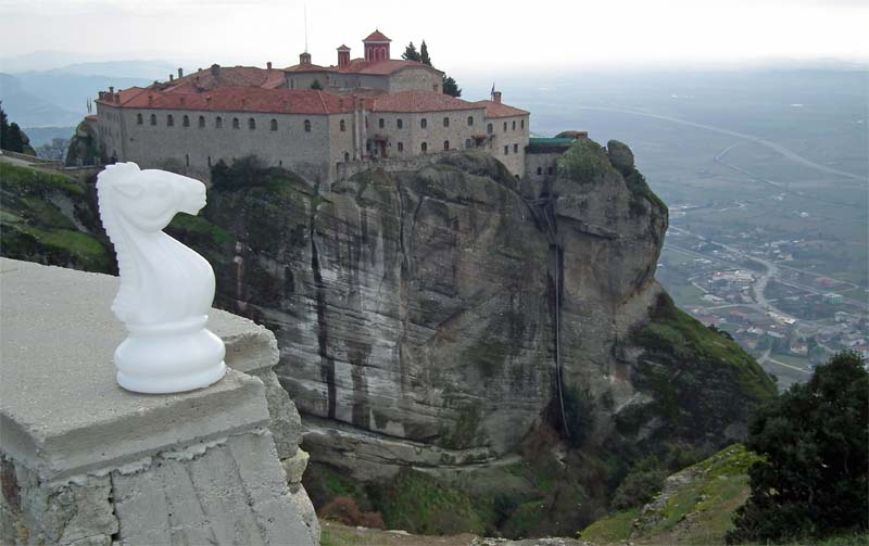 overlooking mountain monastry at meteora