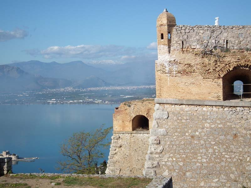 knight on top of the castle in nafplio
