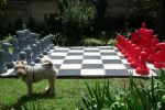 grey and red chess set