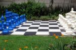 blue and ivory chess set