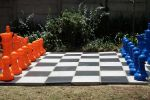 blue and orange chess set