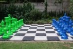lime green and blue chess set