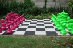 lime green and magenta chess set