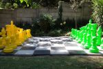 lime green and yellow chess set