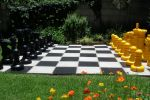 yellow and black chess set