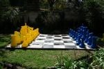 blue and yellow chess set