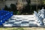 grey and blue chess set