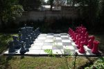 grey and magenta chess set