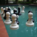 pawns going for a swim