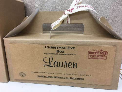 SMALL PERSONALISED CHRISTMAS EVE BOX KRAFT BOX