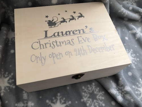 PERSONALISED WOODEN CHRISTMAS EVE BOX .  LIMITED NUMBER AVAILABLE!**