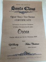 PERSONALISED VINTAGE SANTA 2021 FIRST CHRISTMAS CERTIFICATE WITH NORTH POLE