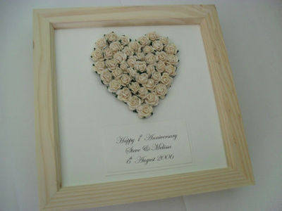 Paper rose heart 1st anniversary wedding keepsake gift 3d box frame