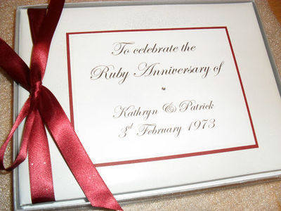PERSONALISED RUBY/SILVER/GOLDEN WEDDING ANNIVERSARY GUEST BOOK/ PHOTO ALBUM