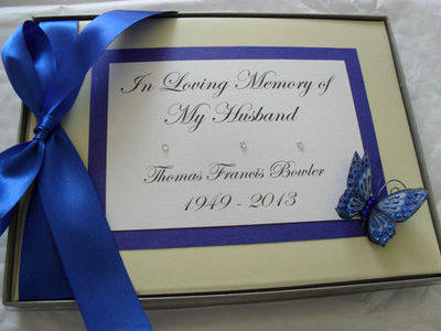 PERSONALISED BOOK OF CONDOLENCE FUNERAL/MEMORY MESSAGE BOOK