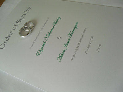 Wedding Rings Order of Service Cards