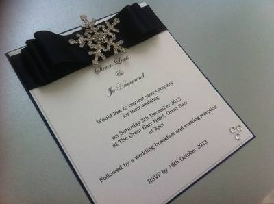 Luxury Snowflake Diamante Invitation