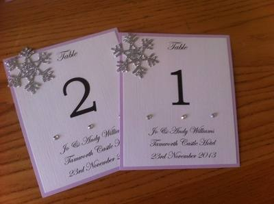 Winter Snowflake Table Numbers/Names