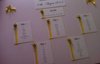 A3 Rose & Diamante Wedding Seating Plan