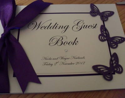 Butterfly & Diamante Guest Book