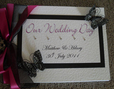 Wedding Guest Book 3D Butterfly & Diamante