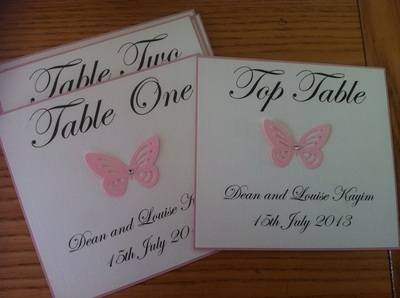 Butterfly Table Numbers/Names