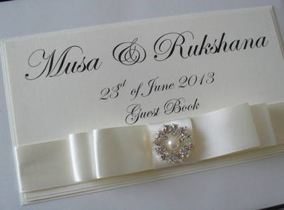 Vintage Pearl Wedding Guest Book