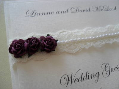 Vintage Lace & Pearls Wedding Guest Book