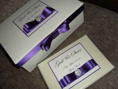 Vintage Pearl & Diamante Wedding Keepsake Box & Guest Book