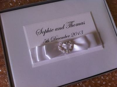 Diamante & Pearl Heart Buckle Wedding Guest Book