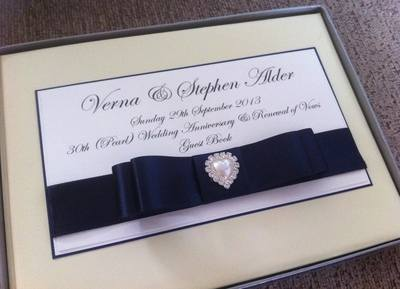 Pearl & Diamante Heart Wedding Guest Book