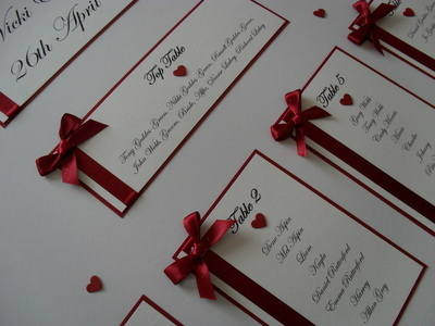 A2 Ribbon & Heart Wedding Table Plan