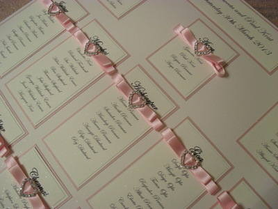 A3 Diamante Heart Wedding Table Plan