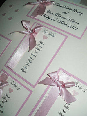 A3 Ribbon & Heart Wedding Table Plan
