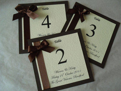 Ribbon and Heart Table Numbers