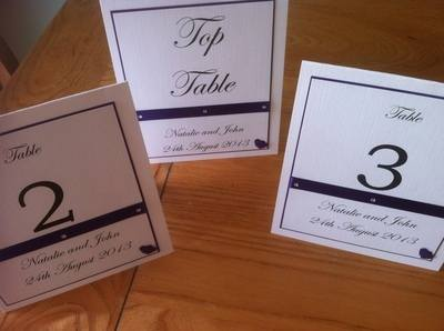 Double Heart Table Numbers