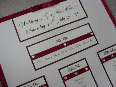 A3 Diamante Heart Band Wedding Table Plan