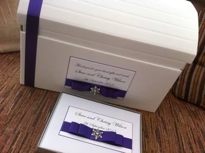 Vintage Diamante Flower Wedding Chest & Guest Book