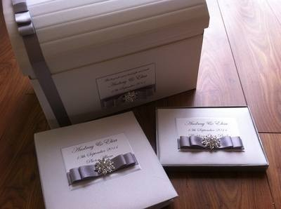 Large Diamante Cluster Wedding Chest, Photo Album & Guest Book