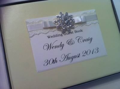 Lace & Diamante Cluster Wedding Guest Book