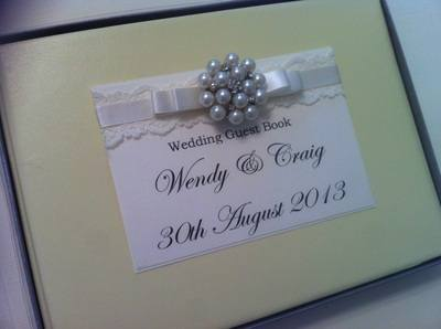 Lace & Large Diamante & Pearl Cluster Wedding Guest Book