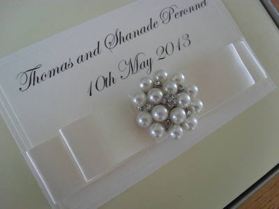 Large Diamante & Pearl Cluster Wedding Guest Book