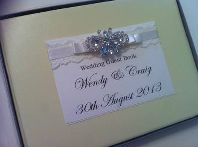 Lace & Diamante Butterfly Wedding Guest Book