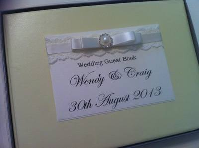 Lace & Diamante Pearl Cluster Wedding Guest Book