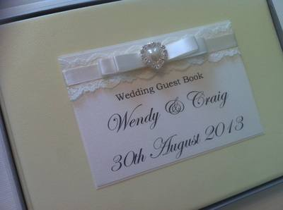 Lace & Diamante Pearl Heart Wedding Guest Book